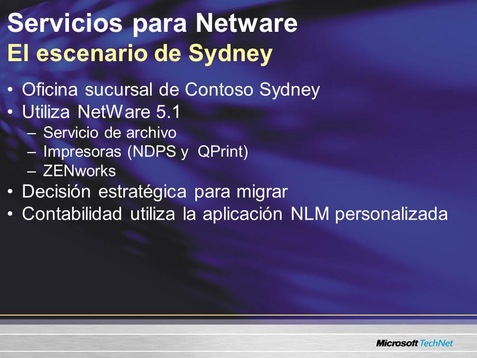 Servicios para Netware El escenario de Sydney