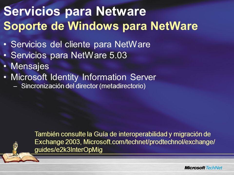 Servicios para Netware Soporte de Windows para NetWare