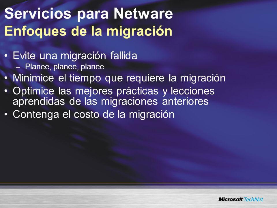 Servicios para Netware Enfoques de la migración