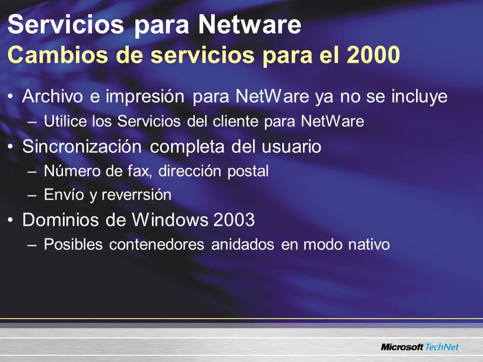 Servicios para Netware Cambios de servicios para el 2000