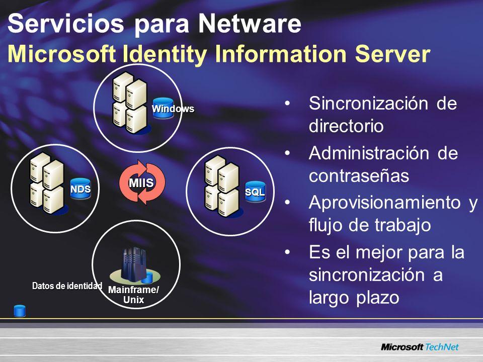 Servicios para Netware Microsoft Identity Information Server