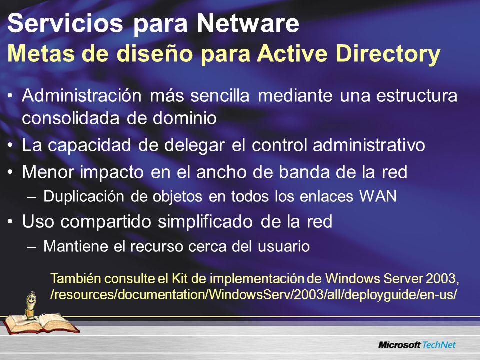 Servicios para Netware Metas de diseño para Active Directory