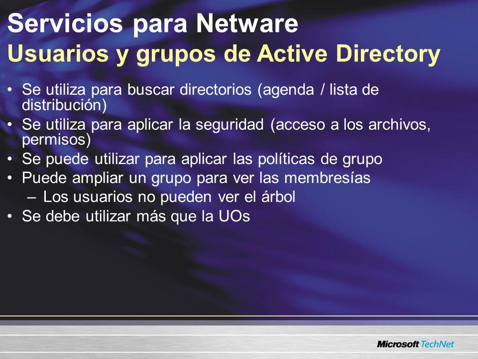 Servicios para Netware Usuarios y grupos de Active Directory