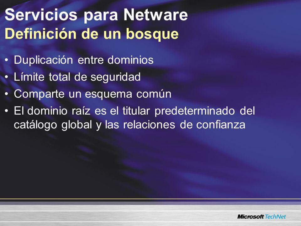 Servicios para Netware Definición de un bosque