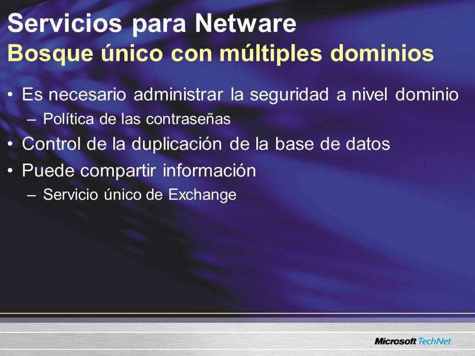 Servicios para Netware Bosque único con múltiples dominios