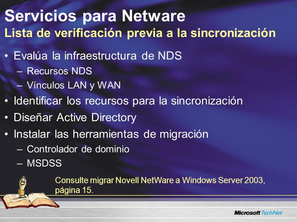 Servicios para Netware Lista de verificación previa a la sincronización