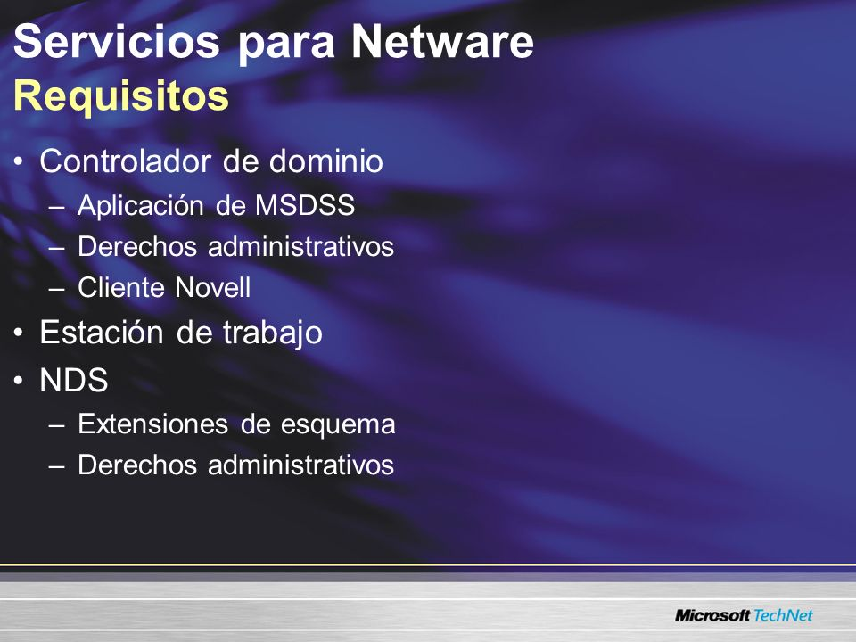 Servicios para Netware Requisitos
