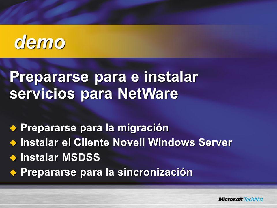 demo Prepararse para e instalar servicios para NetWare