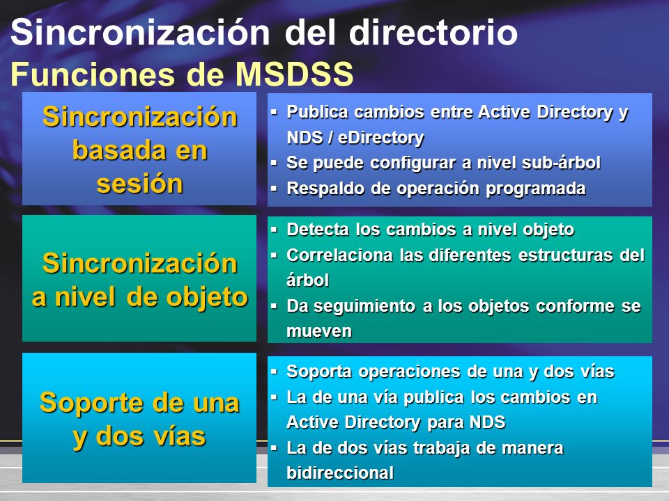 Sincronización del directorio Funciones de MSDSS