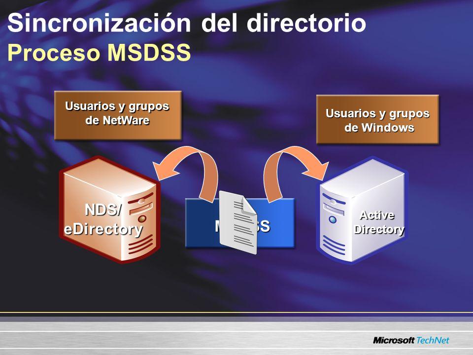 Sincronización del directorio Proceso MSDSS