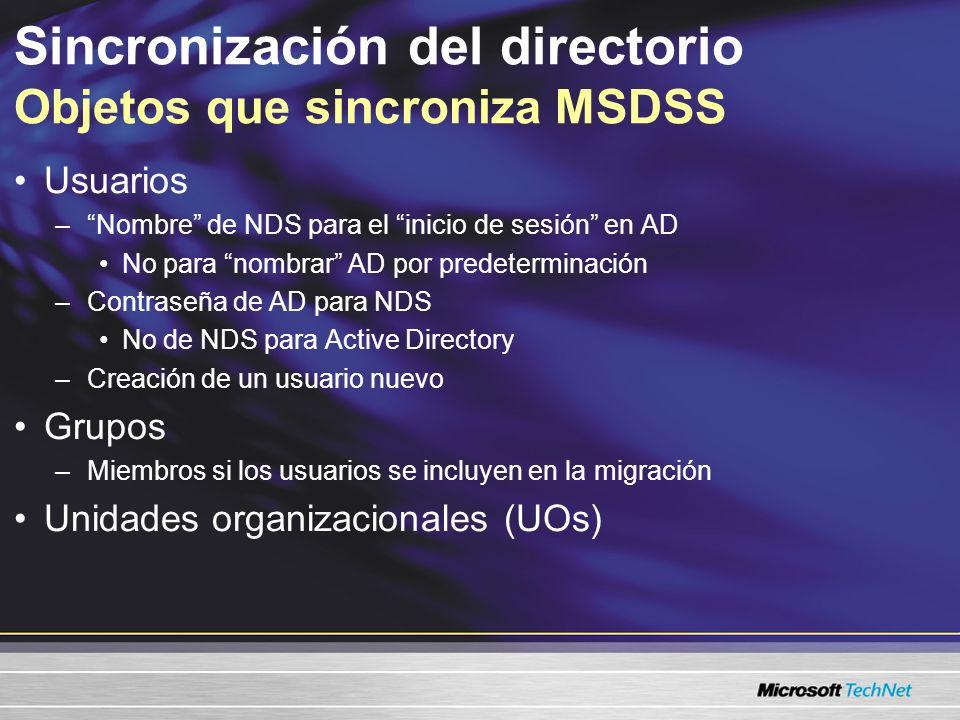 Sincronización del directorio Objetos que sincroniza MSDSS