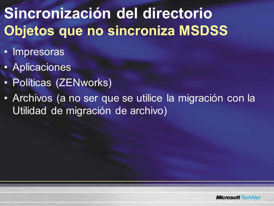 Sincronización del directorio Objetos que no sincroniza MSDSS