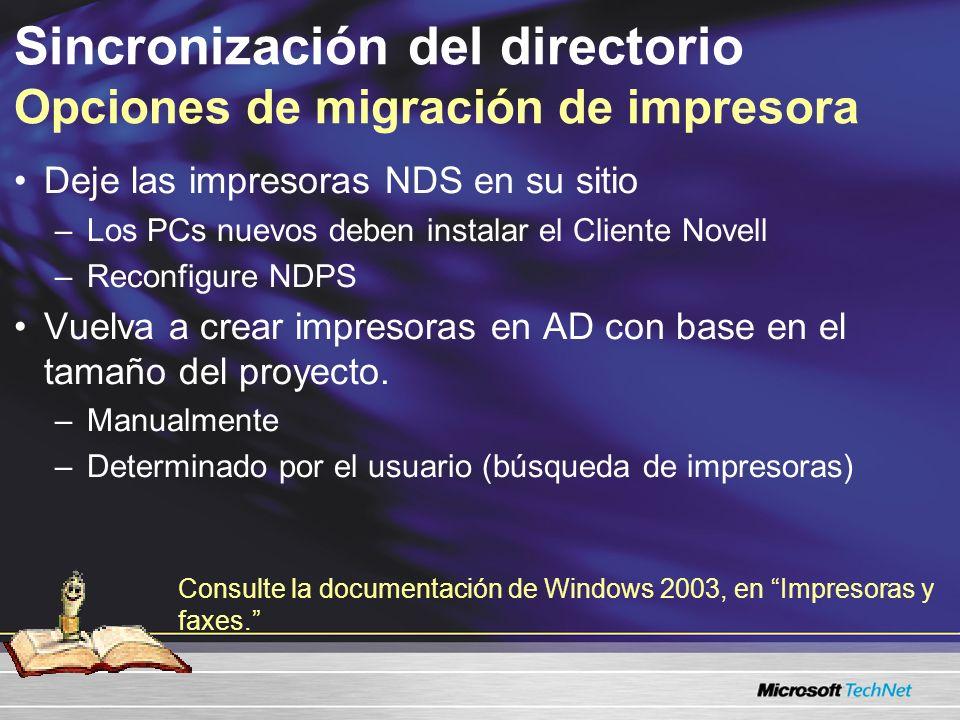 Sincronización del directorio Opciones de migración de impresora