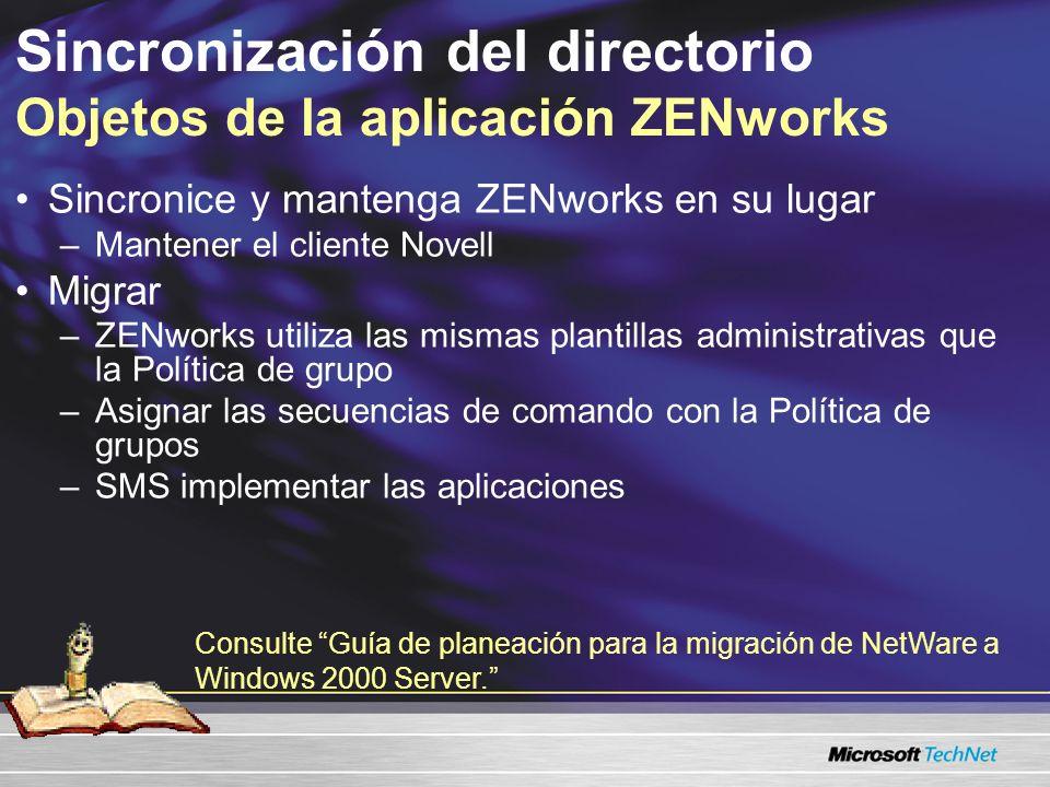 Sincronización del directorio Objetos de la aplicación ZENworks