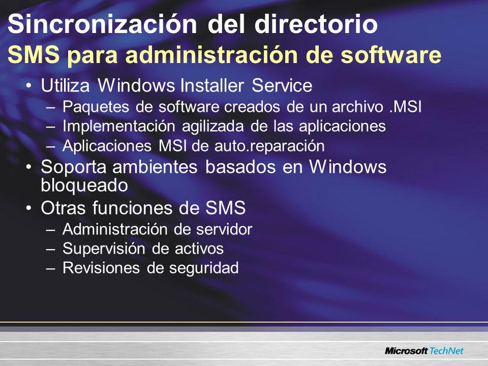 Sincronización del directorio SMS para administración de software