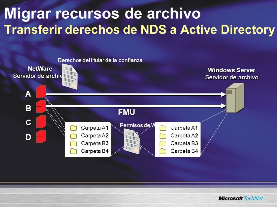 Migrar recursos de archivo Transferir derechos de NDS a Active Directory