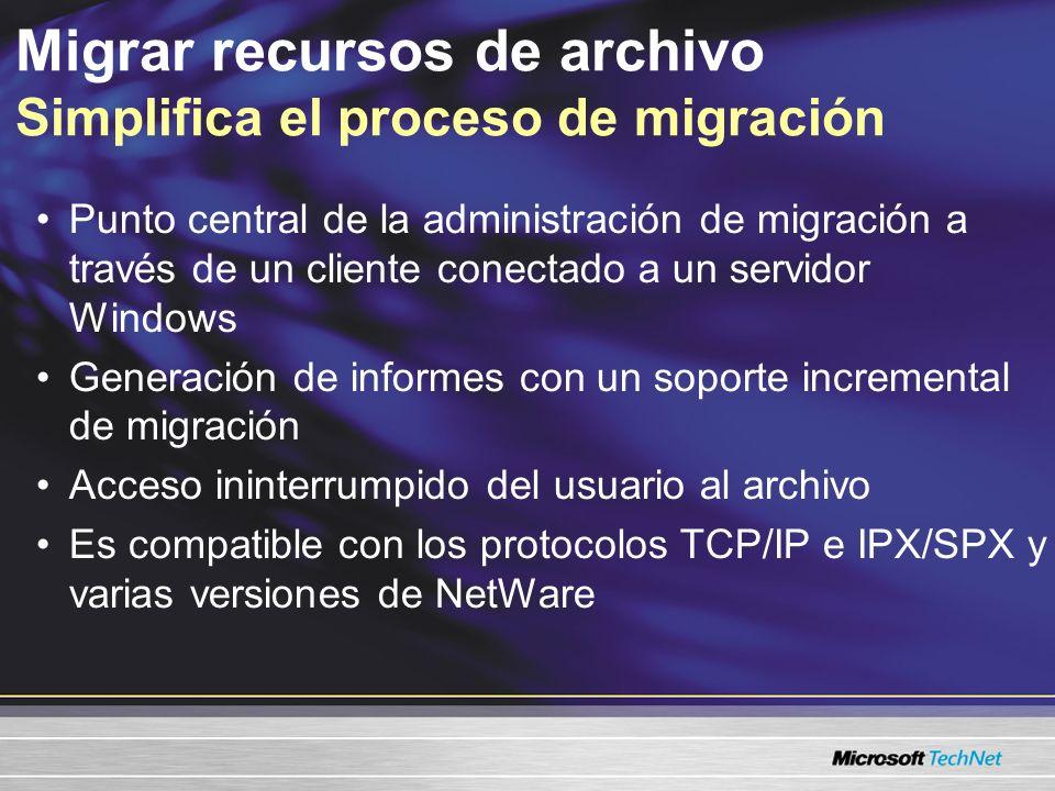 Migrar recursos de archivo Simplifica el proceso de migración
