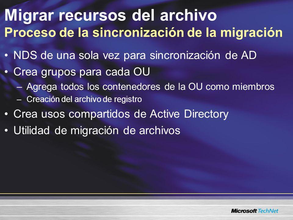 Migrar recursos del archivo Proceso de la sincronización de la migración