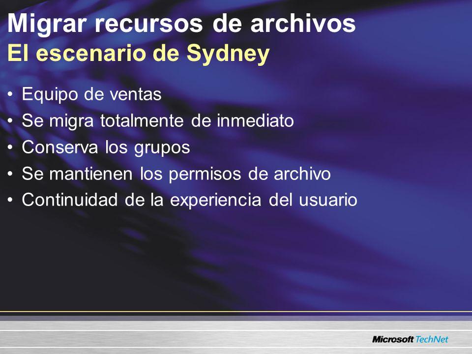 Migrar recursos de archivos El escenario de Sydney