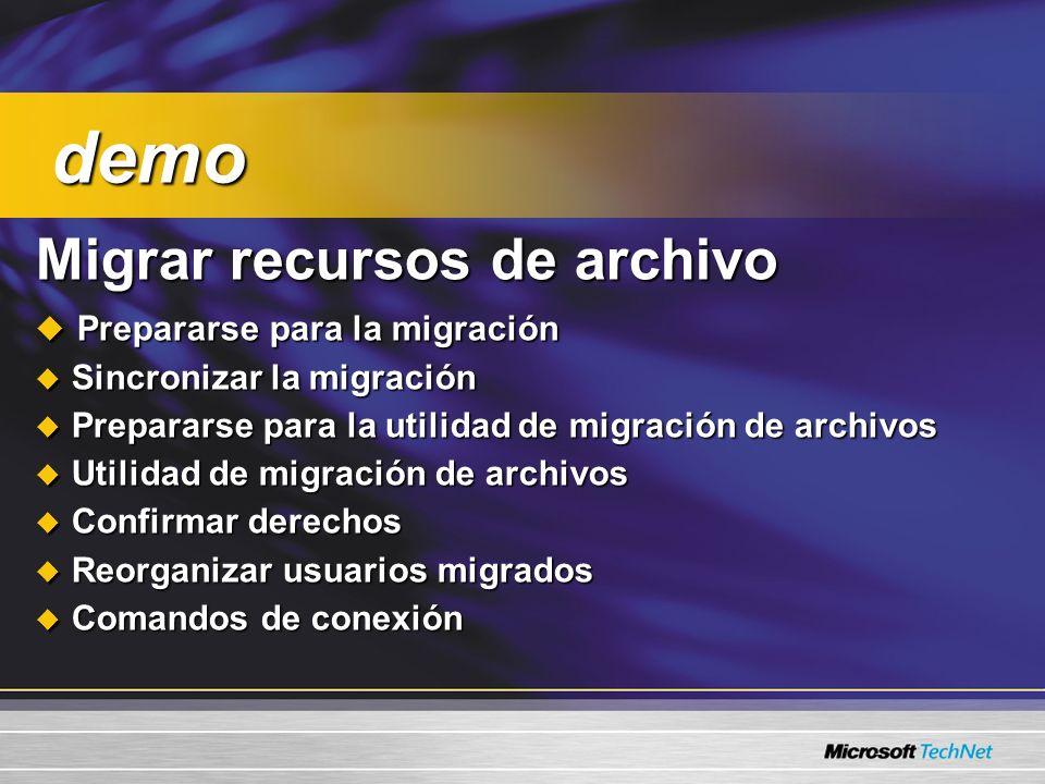 demo Migrar recursos de archivo Prepararse para la migración