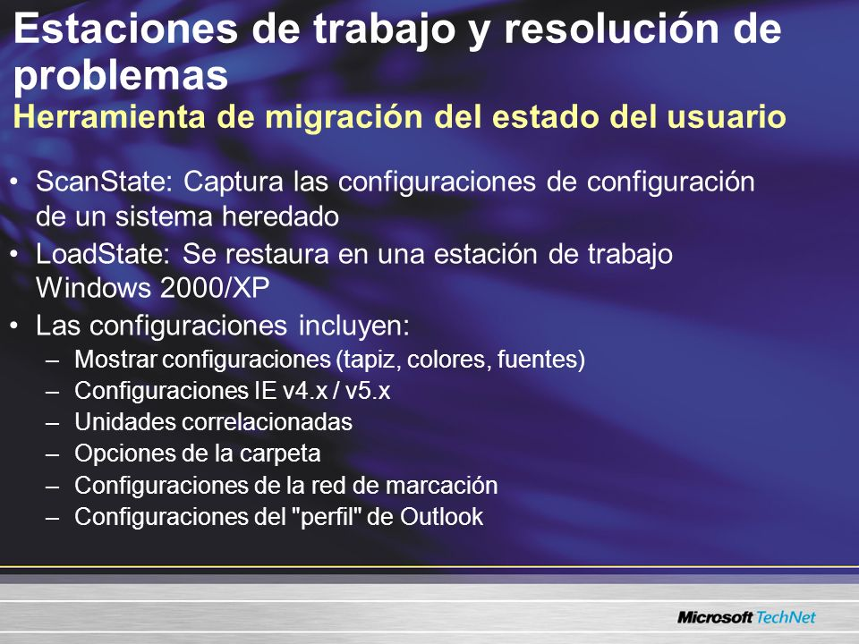 Estaciones de trabajo y resolución de problemas Herramienta de migración del estado del usuario
