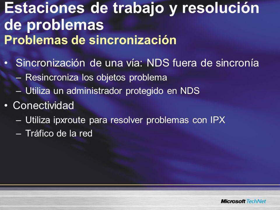 Estaciones de trabajo y resolución de problemas Problemas de sincronización