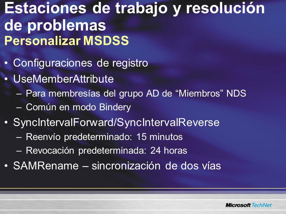 Estaciones de trabajo y resolución de problemas Personalizar MSDSS