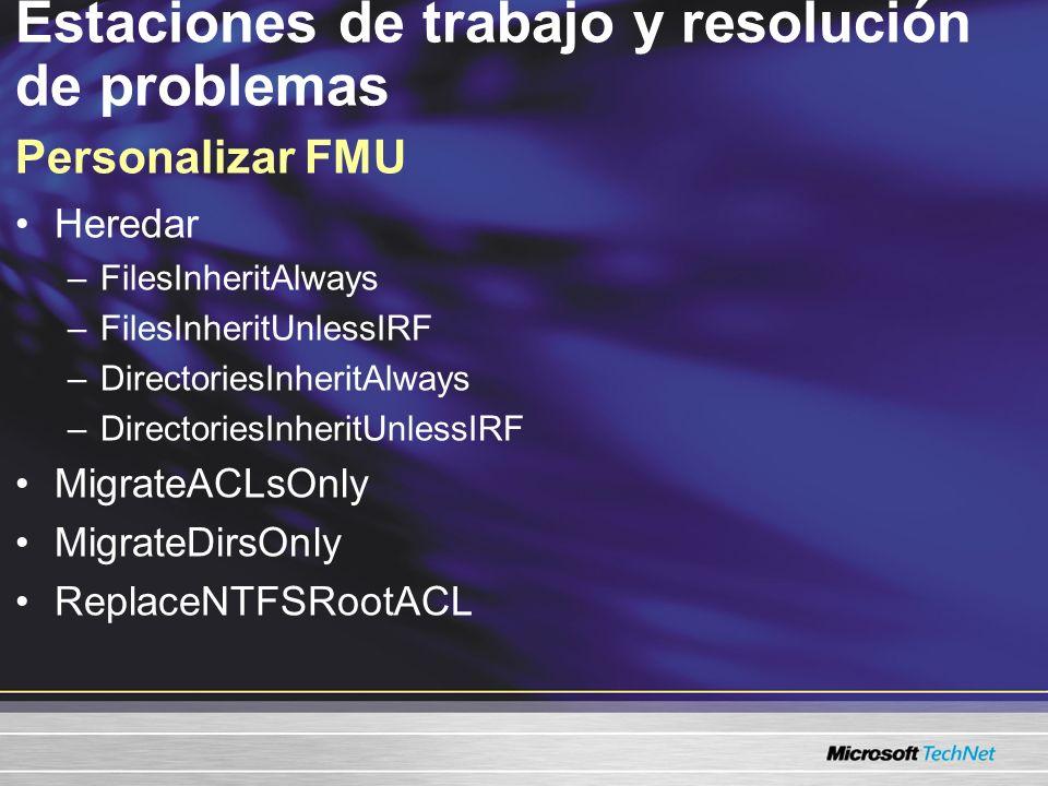 Estaciones de trabajo y resolución de problemas Personalizar FMU