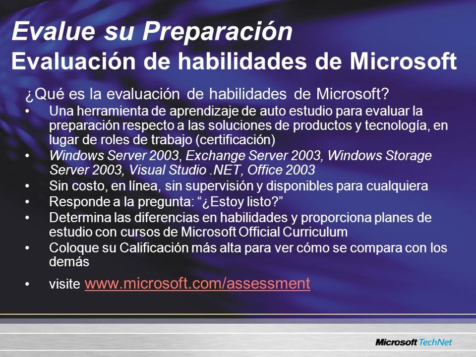 Evalue su Preparación Evaluación de habilidades de Microsoft