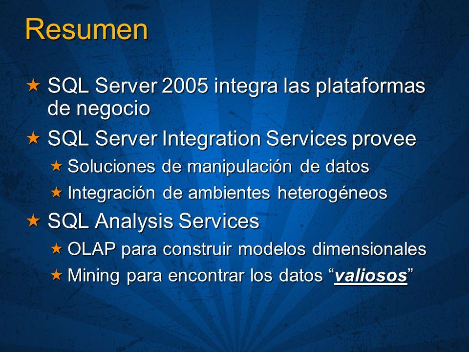 Resumen SQL Server 2005 integra las plataformas de negocio