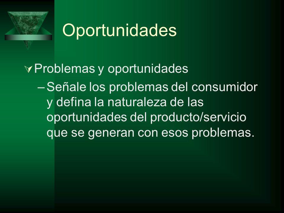 Oportunidades Problemas y oportunidades