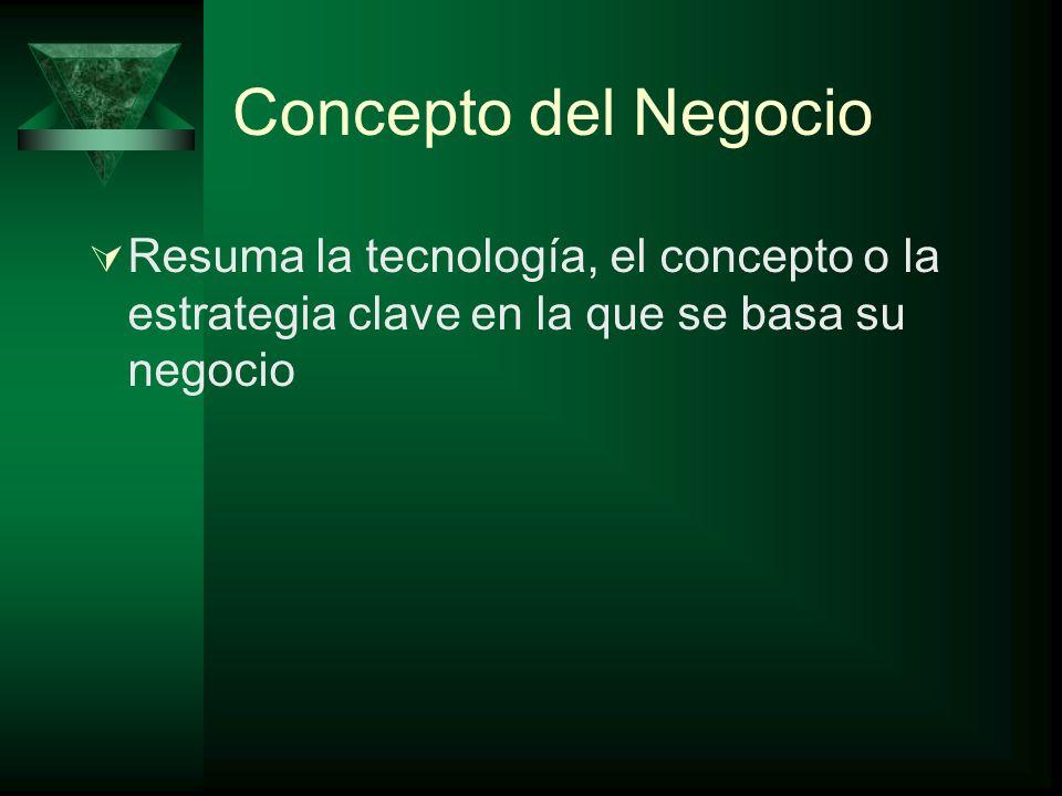 Concepto del Negocio Resuma la tecnología, el concepto o la estrategia clave en la que se basa su negocio.