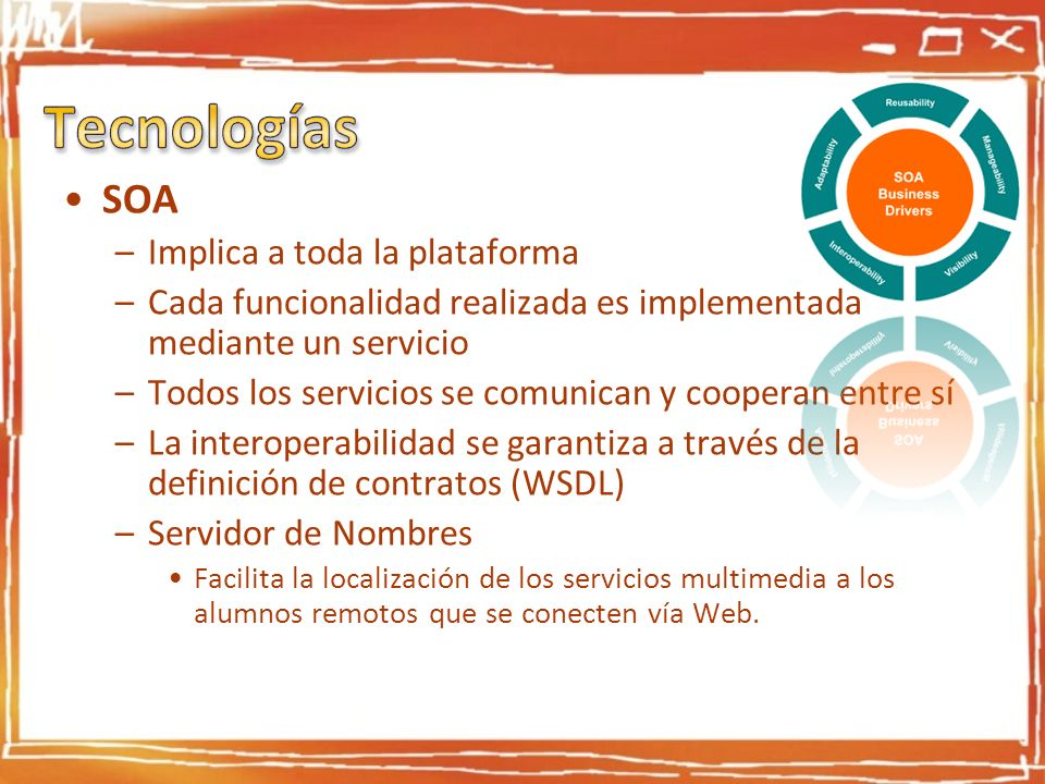 Tecnologías SOA Implica a toda la plataforma