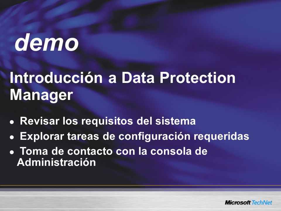 demo Demo Introducción a Data Protection Manager