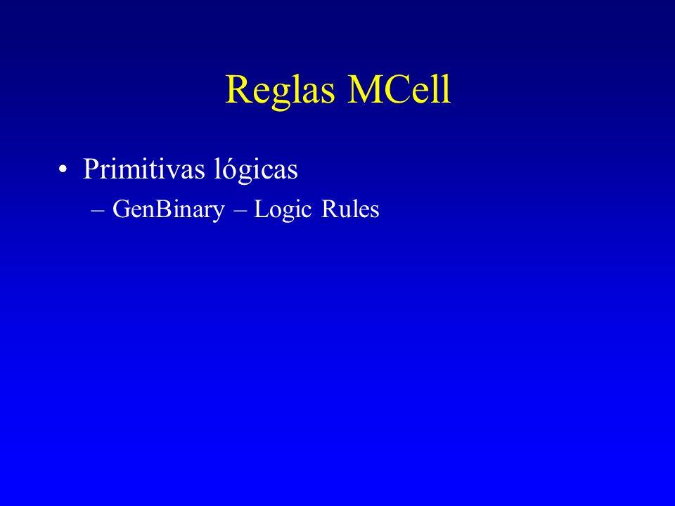 Reglas MCell Primitivas lógicas GenBinary – Logic Rules