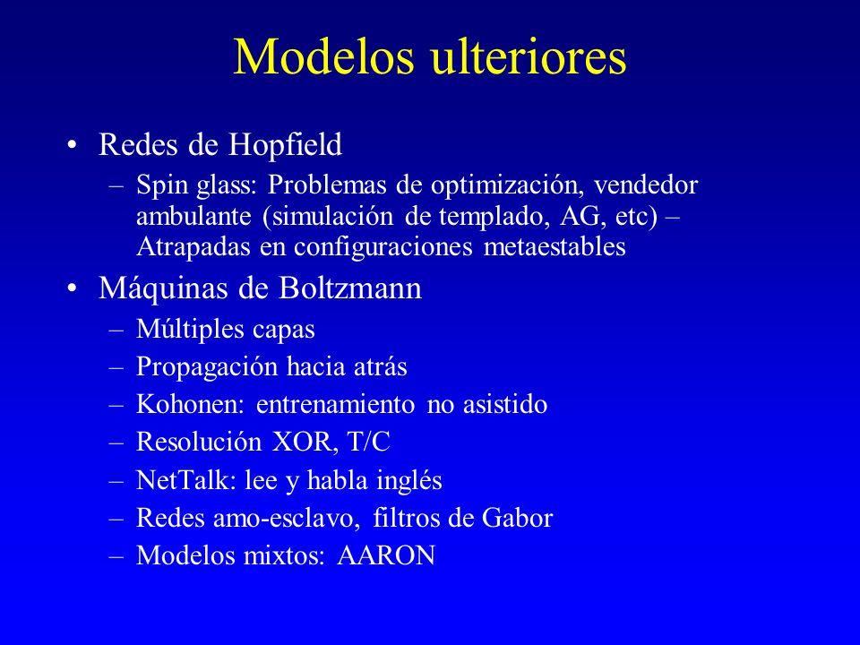 Modelos ulteriores Redes de Hopfield Máquinas de Boltzmann