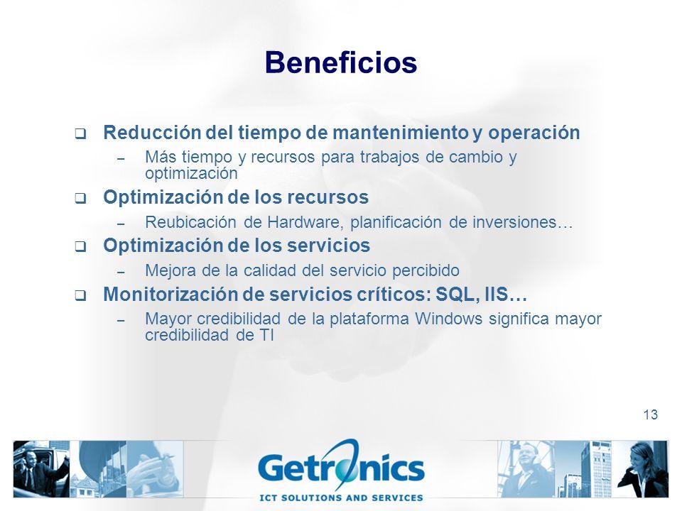 Beneficios Reducción del tiempo de mantenimiento y operación