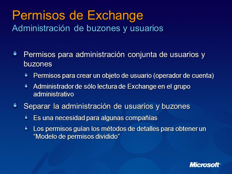 Permisos de Exchange Administración de buzones y usuarios