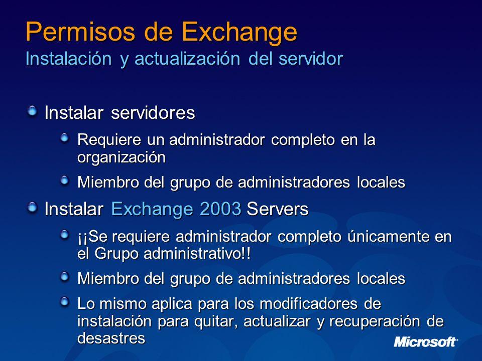 Permisos de Exchange Instalación y actualización del servidor