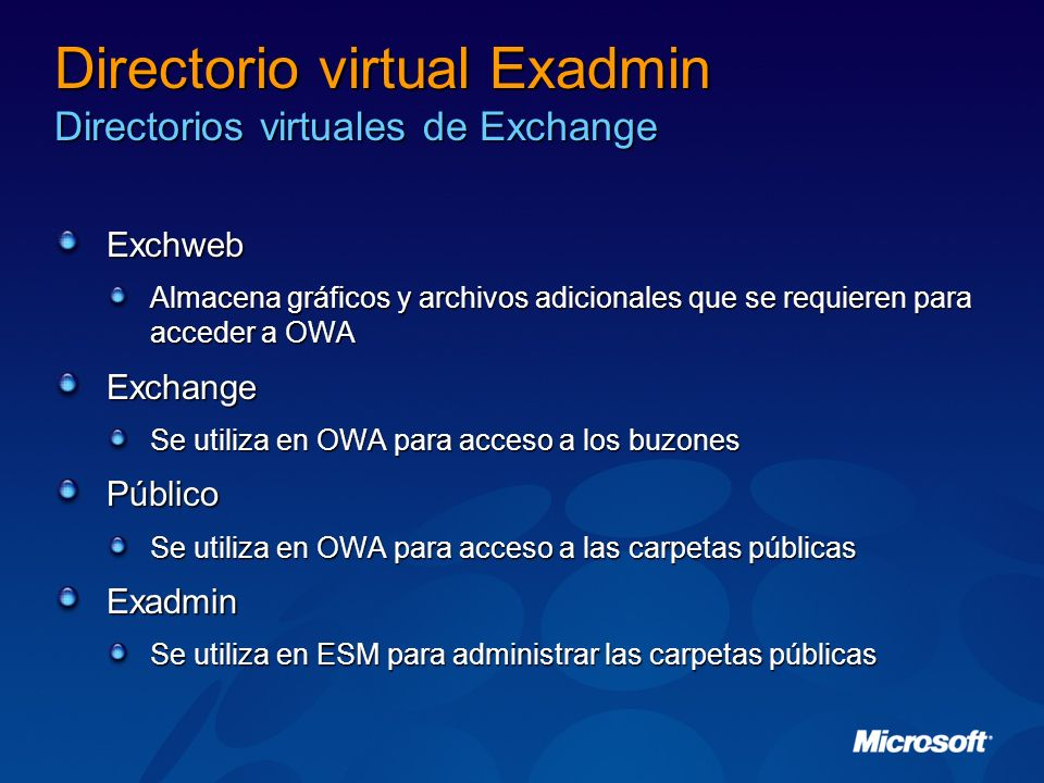 Directorio virtual Exadmin Directorios virtuales de Exchange