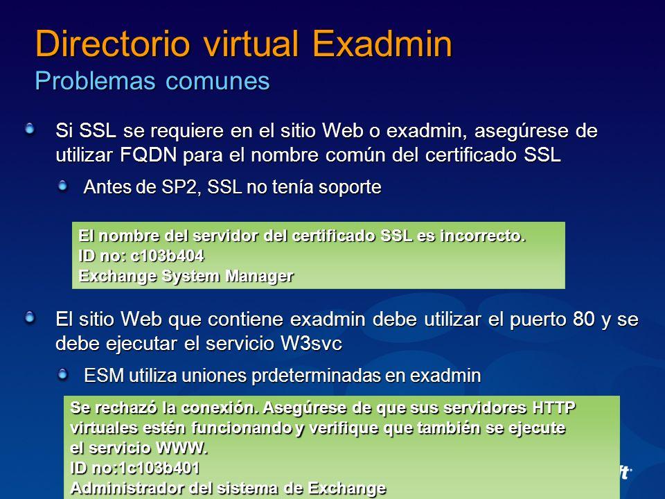 Directorio virtual Exadmin Problemas comunes