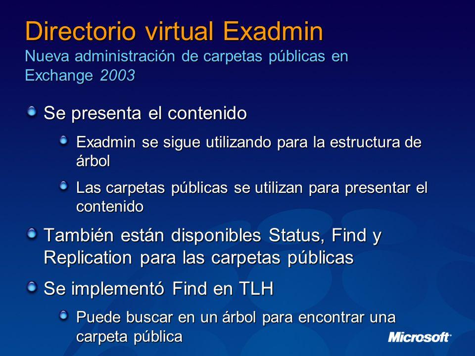 Directorio virtual Exadmin Nueva administración de carpetas públicas en Exchange 2003