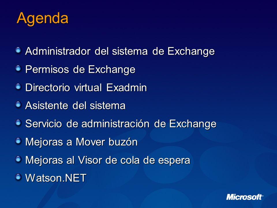 Agenda Administrador del sistema de Exchange Permisos de Exchange