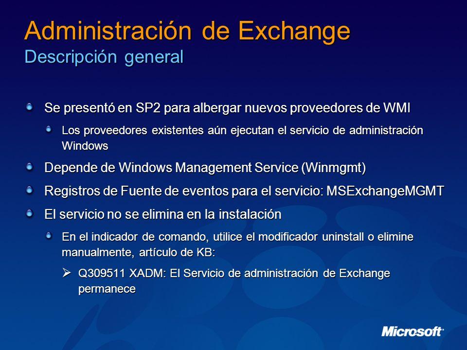 Administración de Exchange Descripción general
