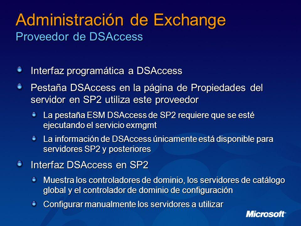 Administración de Exchange Proveedor de DSAccess