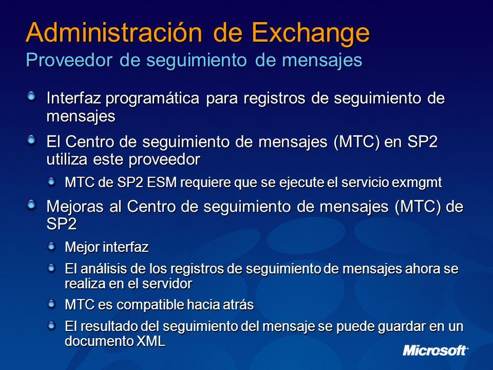 Administración de Exchange Proveedor de seguimiento de mensajes