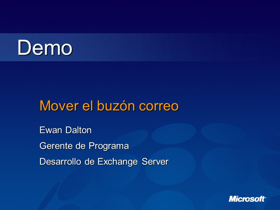 Demo Mover el buzón correo Ewan Dalton Gerente de Programa