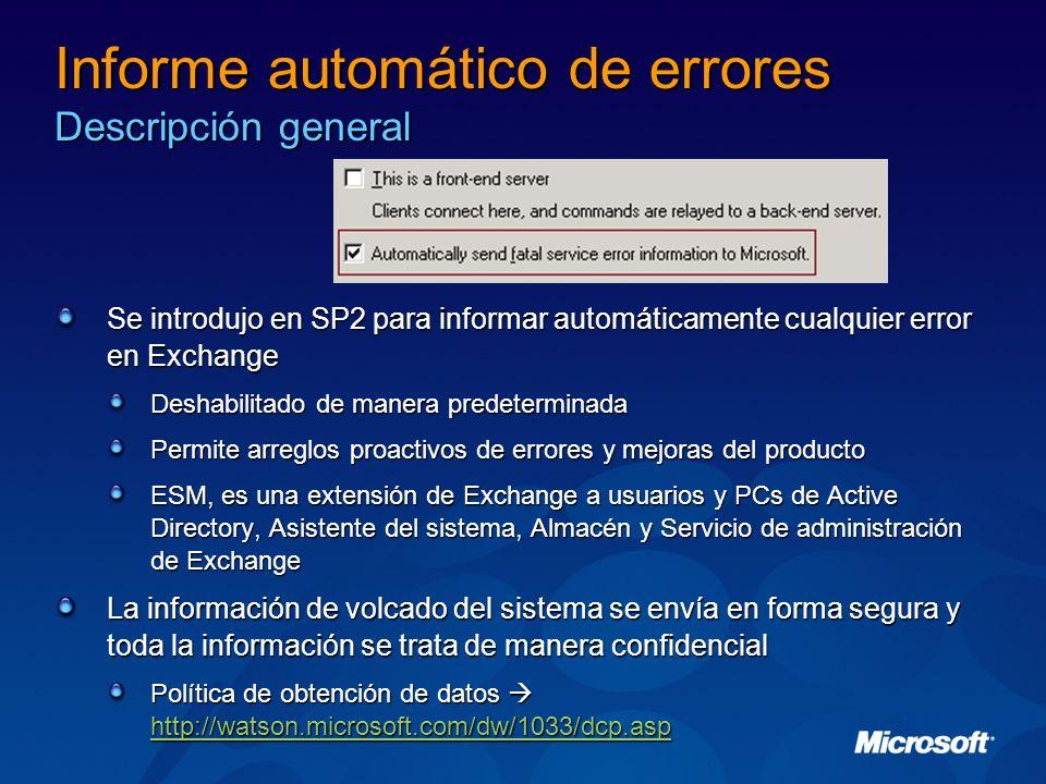 Informe automático de errores Descripción general