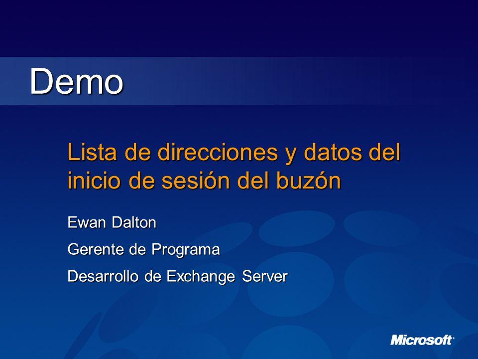 Demo Lista de direcciones y datos del inicio de sesión del buzón