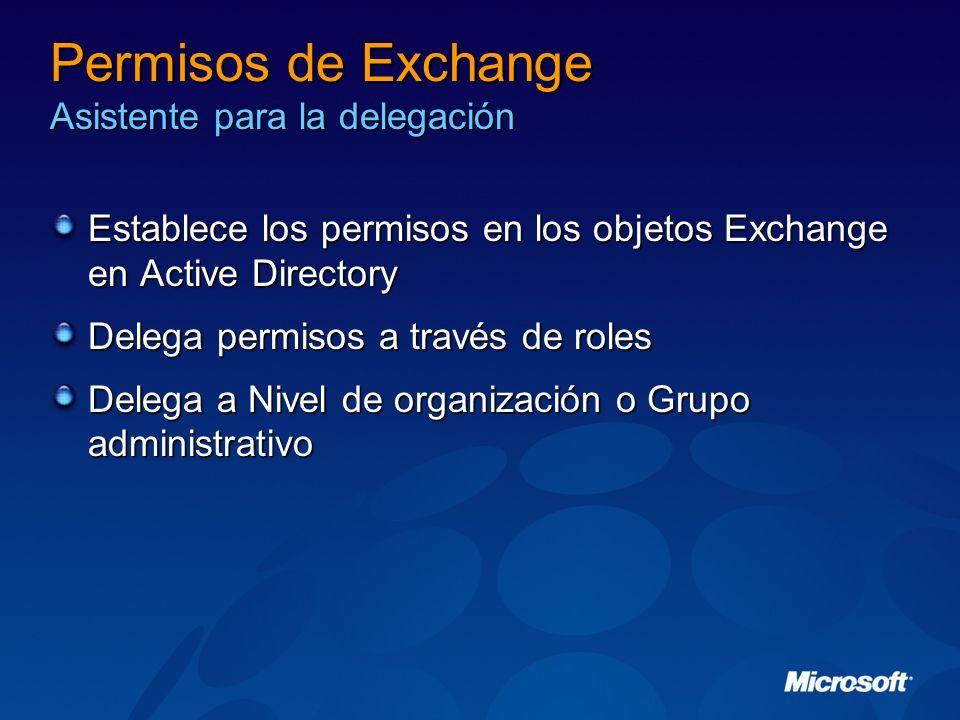 Permisos de Exchange Asistente para la delegación